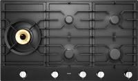 HG1986AB-Газова поверхня Газова варильна поверхня з матової емалі чорного кольору, з 1 конфоркою Super Flex Wok™, 4 гібридними конфорками A+ і автоматичним підпалюванням